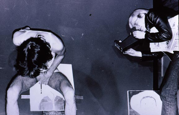 Documentation of Neke Carson's rectal realist portrait of Andy Warhol (Photo by Anton Perich via gallery.98bowery.com)