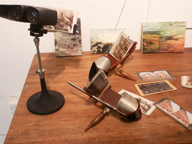 Installation of Max Greis's stereoscope and stereoscope photographs