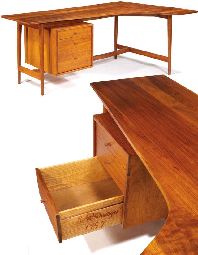 "Lot 286 Richard Artschwager Desk 1957 Americanwalnut Studio Signedanddated""R.Artschwager1957"" 29""x66.25""x43"" Exhibited: ""FurniturebyCraftsman"",MuseumofContemporaryCrafts,NewYork,1957 Illustrated: Armstrong,Richard. Artschwager, Richard.NewYork:WhitneyMuseumofArt,1988.p15. Estimate: $7,000- $10,000"