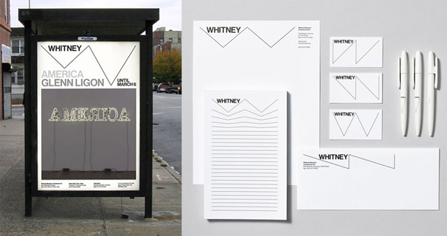 A conceptual sketch by Experimental Jetset for the Whitney logo on a bus shelter poster, and their branding guidelines on various Whitney objects. (images via experimentaljetset.nl)