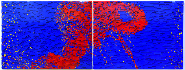 "Claire Healy & Sean Cordeiro ""T+85_red&blue_diptych"" (2013), LEGO, 105 x 298cm (41.3 x 117.3in)"