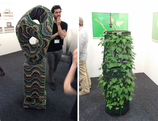 """Left, A sculpture by Oliver Michaels at COLE gallery, and right, Martin Roth, """"Untitled (Trash can Sculpture)"""" (2013) at Louis B James gallery."""