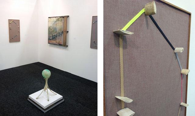 "Ian Pedigo at Klaus von Nichtssagend, including a detail (right) of ""Found in a Place"" (2012)."