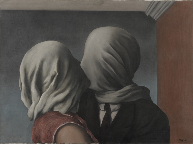 """René Magritte, """"Les amants (The Lovers)"""" (1928), oil on canvas. 21 3/8 x 28 7/8″ (54 x 73.4 cm) (Museum of Modern Art. Gift of Richard S. Zeisler. © Charly Herscovici -– ADAGP – ARS, 2013)"""