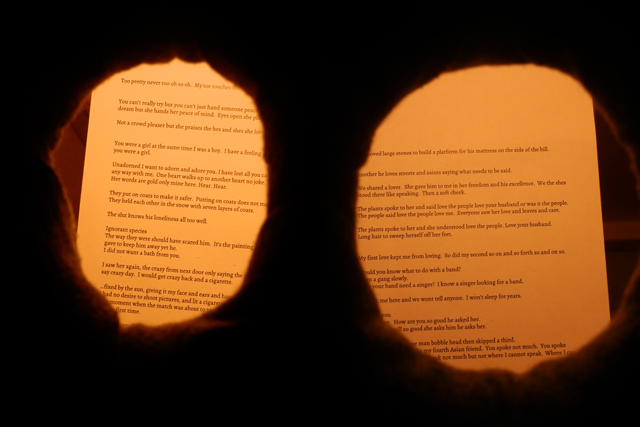 """Natalee Cayton, detail of """"There are those to be seen and read. There is a platform on which to lay."""" (2013), installation and performance"""