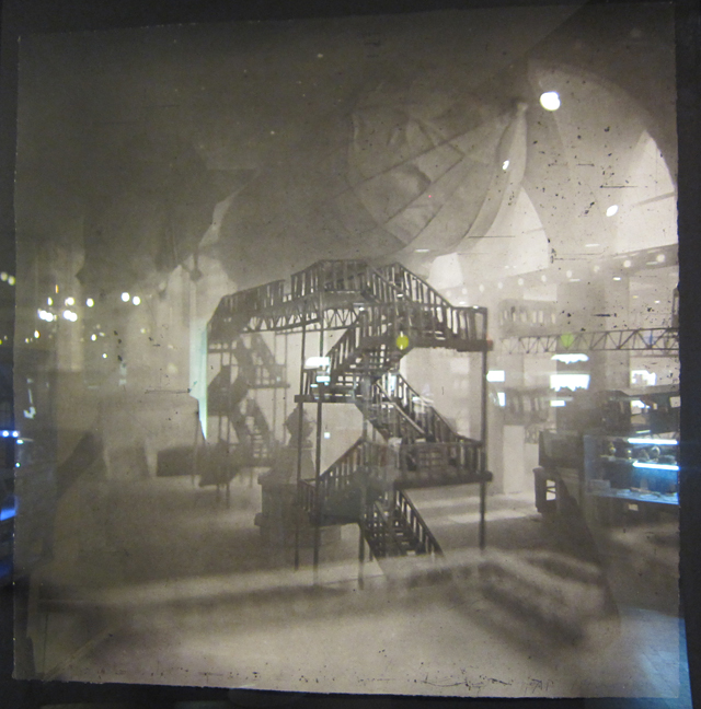 """Lothar Osterberg, """"Zeppelins Docking in Grand Central"""" (2013), photogravure and chine collé"""
