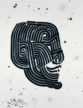 """Rostarr, """"Head Master I (Cabeza Principal)"""" (2005), sumi ink on handmade paper"""