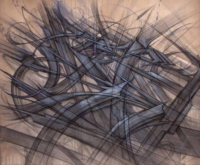 "Saber, ""Base Elements"" (nd), mixed media on panel"