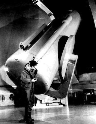 Edwin Hubble at Palomar Observatory's 48-in. Oschin Schmidt telescope, c. 1948.
