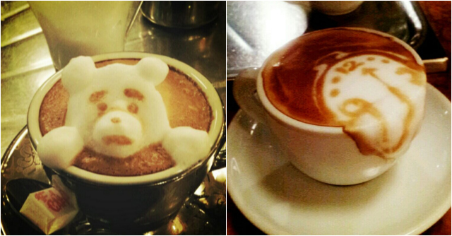 A couple of Kazuki Yamamoto's coffee arts