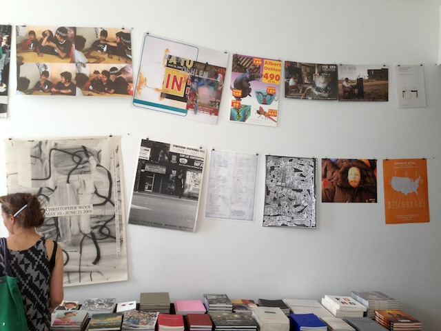 A selection of books and posters are on sale at Luhring Augusting Bushwick. (all photographs by the author for Hyperallergic)