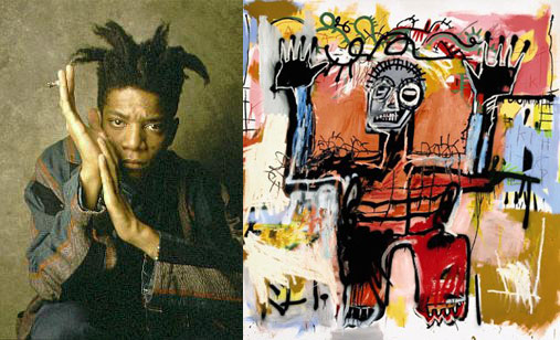 """Left: Jean-Michel Basquiat; right: Basquiat's """"Untitled"""" (1981), acrylic, oilstick and spray paint on canvas (both images via Wikipedia)"""