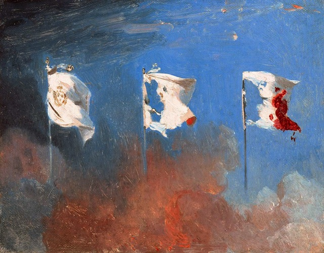 "Léon Cogniet's ""Scene in July 1830,"" also known as ""The Flags"" (1830), shows the transformation of the white flag of the monarchy into the Tricolor. (via Wikipedia)"