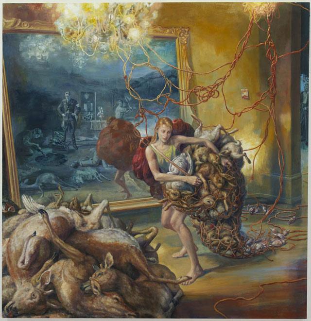 """Julie Heffernan, """"Self Portrait as Gatherer"""" (2013), oil on canvas, 68 x 66 in"""