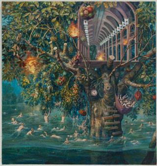 "Julie Heffernan, ""Tree House"" (2011), oil on canvas, 64 x 60 in (click to enlarge)"