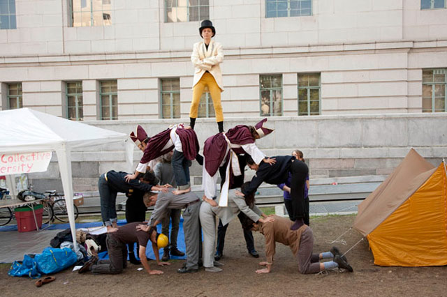 """Part of the Hive at EFA Project Space: Robby Herbst, """"Pyramid of Capitalist System"""" (2011), performance at LA City Hall during Occupation 10/11 (photo by Lisa Anne Auerbach, via efanyc.org)"""