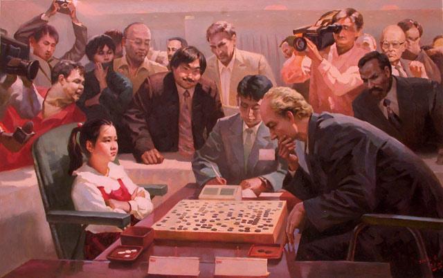"""Kim Hyon Myong, """"Confrontation"""" (2006), oil, 84 x 129 cm"""