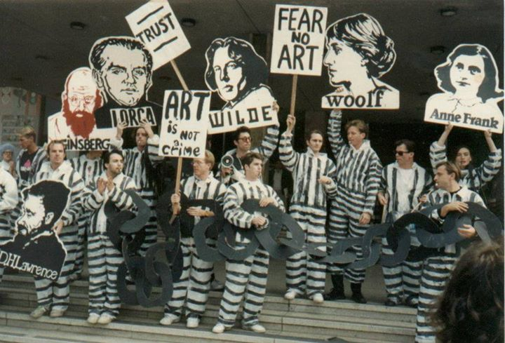 Tim Miller participating in the Art Criminal Chain Gang protest in 1990 (he's holding Oscar Wilde). (Source: Tim Miller)