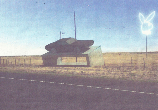 An artist's rendering of the Playboy outdoor art installation planned near Marfa as rendered in documents filed with Presidio County, Texas. (image courtesy Big Bend Sentinel and used with permission)