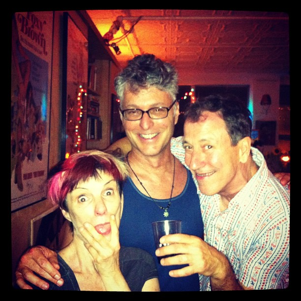 Tim Miller (center), with Holly Hughes and John Fleck, two of the other NEA Four artists, in New York City, June 2013. (Source)