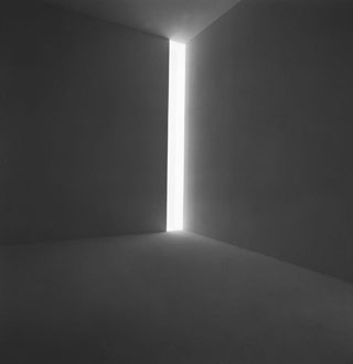 """James Turrell, """"Ronin"""" (1968), fluorescent light, dimensions variable, installation view at the Stedelijk Museum, 1976 (click to enlarge) (collection of the artist, © James Turrell; photo courtesy the Stedelijk Museum)"""