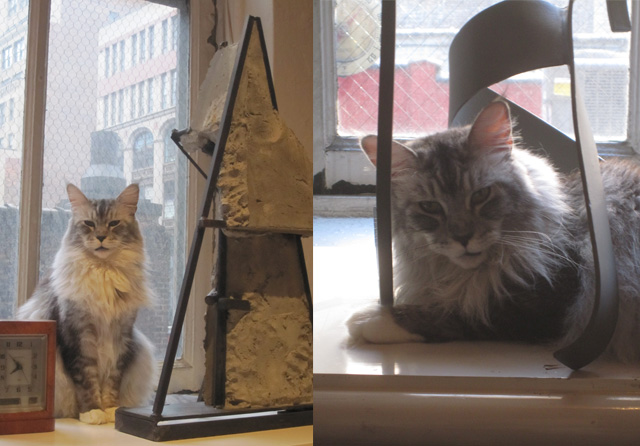 """Beatrix with a work by James Wolfe (left) and another favorite spot in Caro's """"Tabel Piece Z-60"""""""