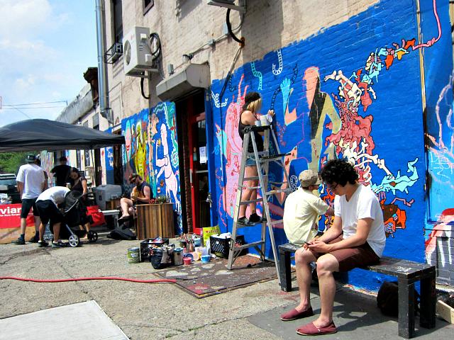 Mural painting outside Little Skips
