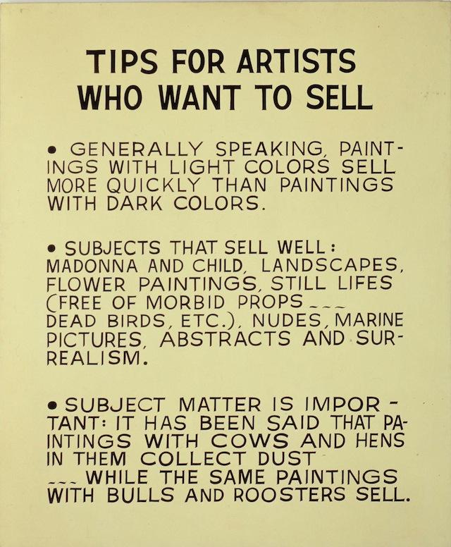 "John Baldessari, ""Tips for Artists Who Want to Sell,"" (1966-68). Acrylic on canvas. 68 x 56 1/2 in. (172.7 x 143.5 cm). (Courtesy The Broad Art Foundation, Santa Monica / © John Baldessari)"