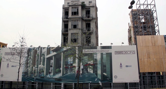 A billboard advertisement promises a new, gentrified neighborhood of Tarlabaşı near Taksim. Forced evictions cleared poor ethnic minorities to make way for luxury residences. (Photo: Christian Pichlkastner, used with permission)