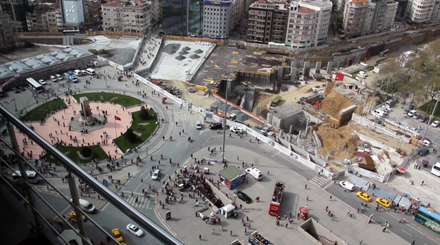 Taksim Square in construction, victim of the government's pedestrianization scheme that will render it impotent as a space for political demonstration. Roads leading to the square will become tunnel entrances, making marches impossible and defense by the police easy, as we witnessed in this wave of protests. (Photo: Christian Pichlkastner, and used with permission)