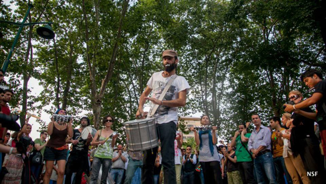 Occupiers celebrate in Gezi Park. (photo: Nazim Serhat Firat, and used with permission)