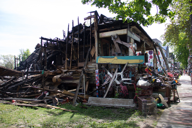 Burned structure of the OJ House at the Heidelberg Project (all images courtesy the Heidelberg Project)