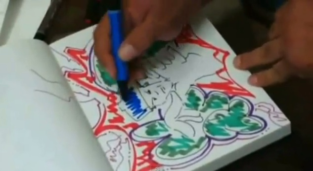 New York graffiti writer T-Kid's black book in Bomb It (2007) (Screen capture by author)