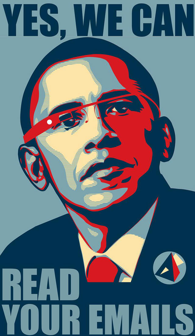 """A play on Fairey's most famous Obama image, """"Hope"""" (2007). (via policymic.com)"""