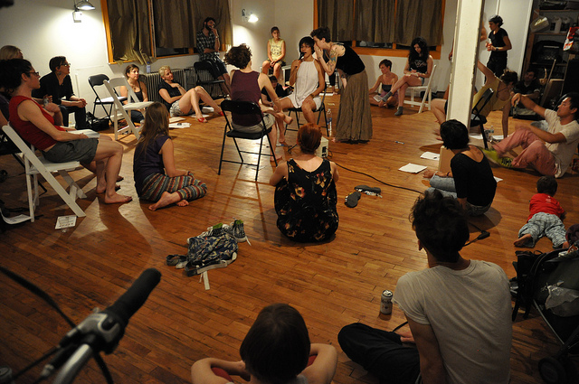 """A view of the room during """"No Wave Performance Task Force Debate, Round II: Labor"""" (all photos and videos by the author for Hyperallergic)"""