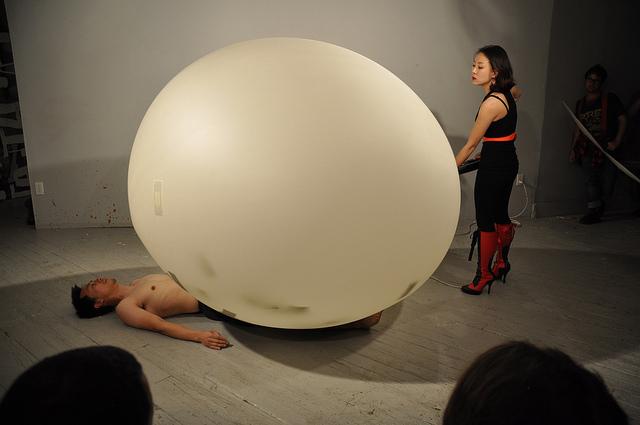 """A view of a performance by Heeran Lee and Miao Jiaxin on Friday, July 12, 2013, at Grace Exhibition Space during """"Climate Change: Language Action Poetry Facilitators - From Asia With Love."""" (all photos by the author unless otherwise noted)"""