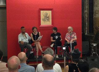 Panelists Jack Waters, Esther Kaplan, Rayya Elias, and Cynthia Carr (click to enlarge)