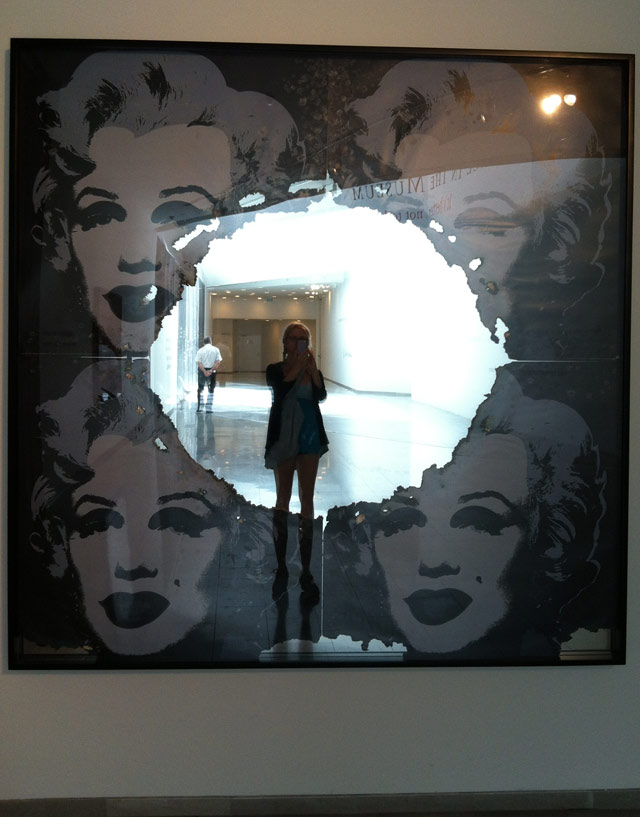 """The author's reflection in """"Self-Portrait of You + Me (Marilyn making of, in four pieces)"""" (2008)"""