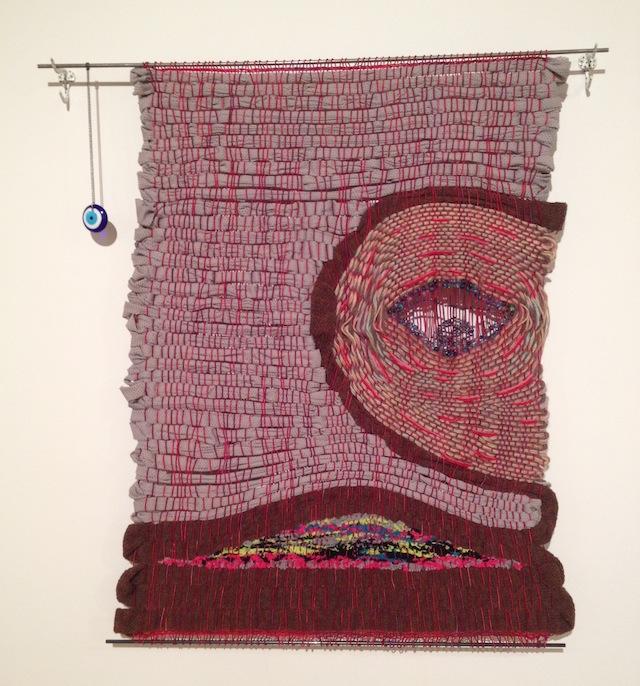 "Karolina Gnatowski, ""Smelly Rug"" (2013), yarn, glass beads, hardware, findings and steel rods"