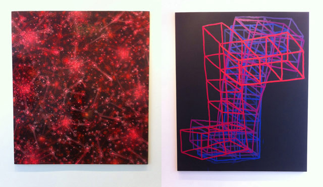 """Left: David Mann, """"Barcelona"""" (2012), acrylic and oil on canvas stretched over board, 72 x 65 in; right: Jason Karolak, """"Untitled (P-1305)"""" (2013), oil on canvas, 84 x 71 in"""