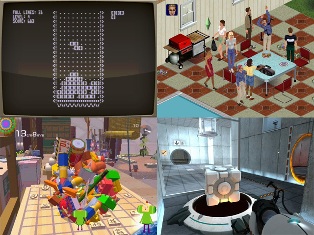"""Views of various games on display at MoMA's Applied Design show, including (clockwise from top left) """"Tetris"""" (1984), """"The Sims"""" (2000), """"Value"""" (2005–2007), and """"Katamari Damacy"""" (2003). (all images courtesy MoMA)"""