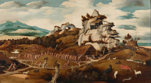 "Jan Mostaert, ""Landscape with an Episode from the Conquest of America"" (c. 1535) (via rijksmuseum.nl)"