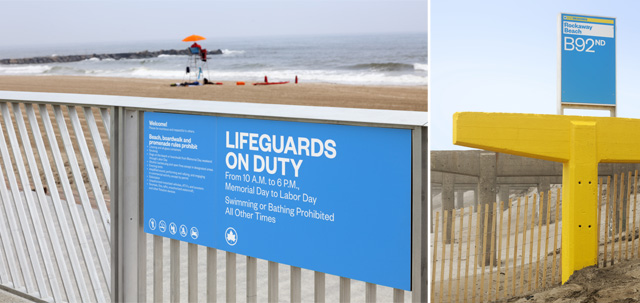 New signage for the beaches by Paula Scher
