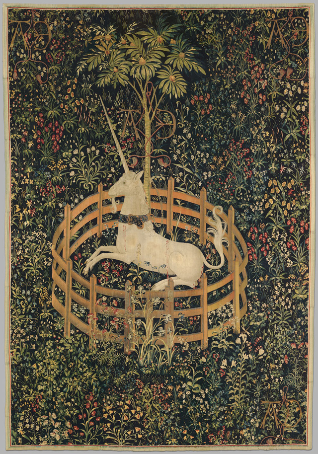 """The Unicorn in Captivity"" (1495–1505), wool, silk, and silver and gilded-silver wrapped thread, 12 ft. 1 in. x 99 in. (© The Metropolitan Museum of Art)"