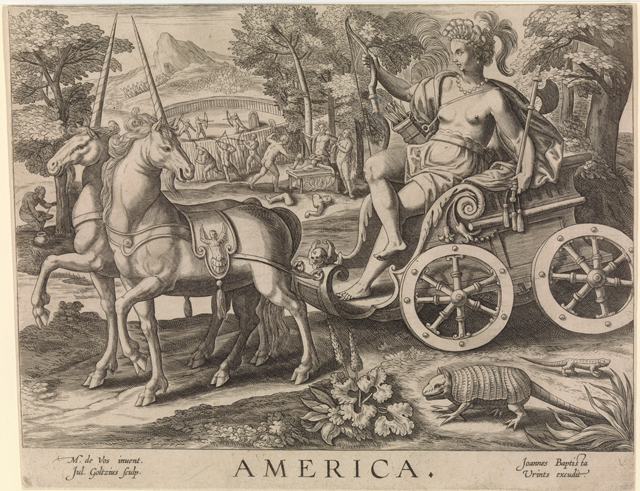 """America,"" from ""The Four Continents"" by Julius Goltzius, after Maerten de Vos (Dutch, 16th century), engraving,  8 5/8 x 11 1/16 in. (© The Metropolitan Museum of Art)"