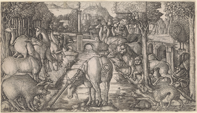 """The Unicorn at the Stream,"" from the ""Unicorn Series"" by Jean Duvet (1555), engraving, 8 7/8 x 15 9/16 in. (© The New York Public Library, Print Collection, Miriam and Ira D. Wallach Division of Art, Prints and Photographs, Astor, Lenox and Tilden Foundations)"