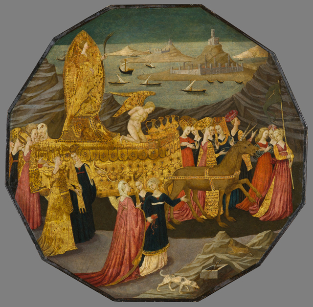 """Birth Tray with the Triumph of Chastity,"" Workshop of Apollonio di Giovanni di Tomaso in Italy, (1450–60),  tempera and gold leaf on panel, 23 x 23 1/4 in. (© North Carolina Museum of Art, Raleigh)"