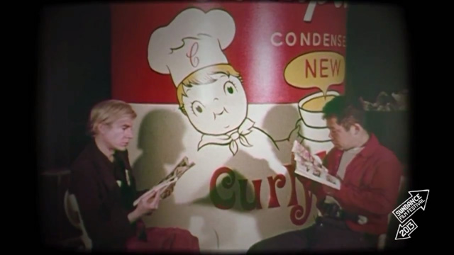 Shinomaro with Warhol in the 1960s. (screenshot from 'Cutie and the Boxer')