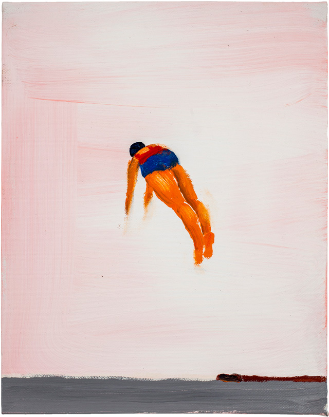 """Katherine Bradford, """"Diver Blue/Red"""" (2012) (all images courtesy the artist, Aucocisco Galleries, Maine, and Edward Thorp Gallery, NY)"""
