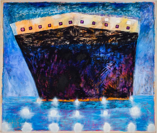 """Katherine Bradford, """"Ship in Blue Harbor"""" (2011–12)"""